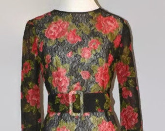 Vintage Sheer Nylon Lace Maxi Sheath Wiggle Dress Bomb Shell Pin Up Dress Rose Pattern NWOT