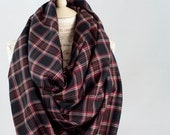 Plaid Blanket Scarf, Oversized Scarf, Black Stewart Tartan, Plaid Scarf, Travel Wrap Woven Shawl, Girlfriend Wife Gift for Her Winter Scarf