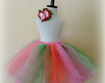 Girls easter outfit tutu skirt and hair clip bow pink orange green spring tutu tulle skirt for little girls