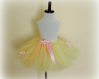 Girls tutu tulle skirt, yellow pink tutu, flower girl tutu, pink yellow wedding, photo prop, princess tutu birthday outfit garden party