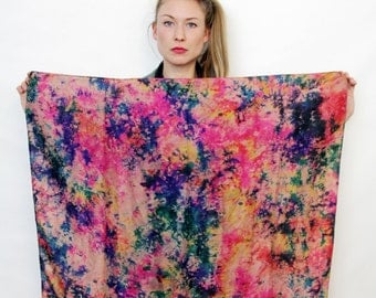 Vintage Silk Boho Chic Watercolor Print Scarf
