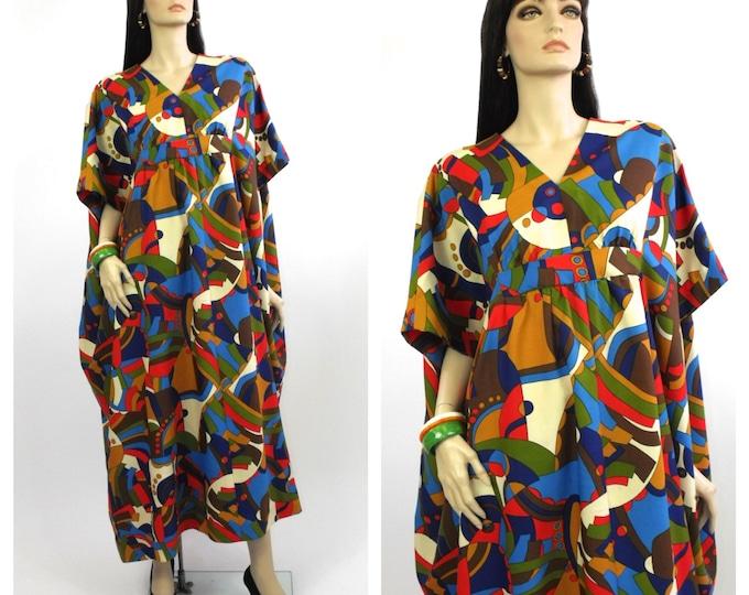 60's / 70's Abstract Psychedelic Print Kaftan Dress // Boho Summer Kaftan // Folk Fest Dress