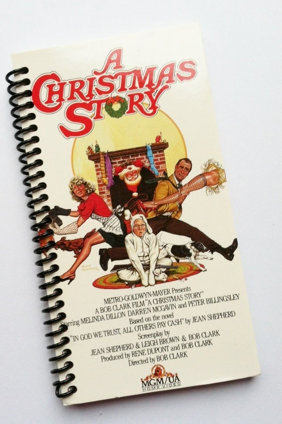 A CHRISTMAS STORY Journal upcycled spiral notebook Recyled Earth Friendly Made from an actual VHS movie cover