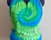 Blue and Green Tie Dye women's halter top upcycled recycled repurposed