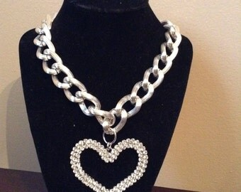 Chunky Chain Link with Rhinestone Heart Pendant Necklace