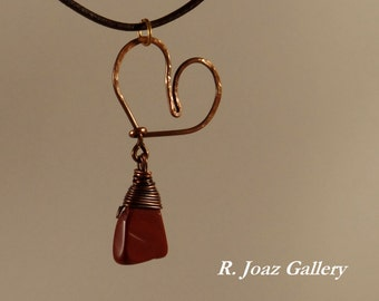 Her Fairness ~   Custom Cold Forged Copper Heart with Red Jasper Triangle Dangle Pendant