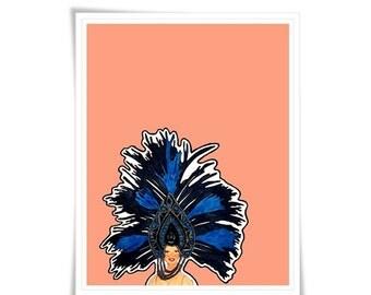 Portrait Illustration Person Modern Vegas Showgirl print art Fun Peach Blue Coral Poster