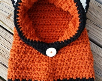 Crochet Fox Hooded Cowl