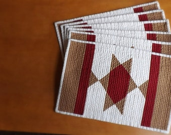 Southwest Star quilted placemats (set of 6) Lone Star State Country western mexican indian horse blanket farmhouse Americana casual dining