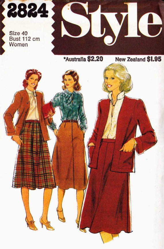 Sewing Pattern Style 2824 Edge To Edge Cardigan With Four Gore Skirt And Blouse With Round