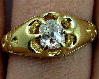 Reserved...Antique 1895s 0.60ct Old Mind Cushion  Diamond  Victorian Solitaire Engagement ,Wedding ring, Anniversary Band in 18k Yellow Gold