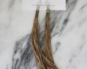 Gold Tassel Earrings // Brass Bullet Casing Tassel Earrings // Handmade Long Tassel Earring