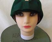 Vintage '20s Cloche Flapper Hat Lancaster Art Deco Wool Green Striped Ribbon Bow Great Gatsby Era - Sz Large