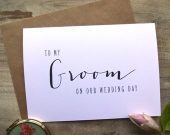 DIGITAL DOWNLOAD - To my Groom on our wedding day Card. 5x7. To My Groom Card Wedding Card Bride Gift to Groom Card for Groom.