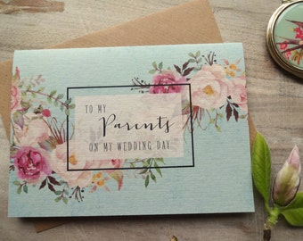 To my Parents on my Wedding Day Card. 5x7. To My Parents Card Wedding Card Bride Gift to Parents. Card for Parents.