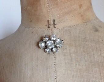Vintage Rhinestone brooch 30s  Art deco diamond shaped