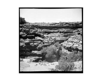 Desert Fine Art Print Canyon Utah black and white square print analog photo film print large wall print lomography sandstone geology