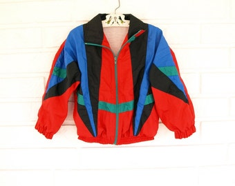 Vintage 80s youth size childrens bright windbreaker jacket size S 4 5 6