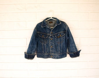 Vintage 80s childrens size 7 acid wash Lee denim Jean jacket