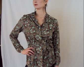 Golden Paisley Belted Blouse 1970s L/XL