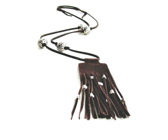 Hippie Necklace, Casual Jewelry, Western Style, Brown Leather Necklace Gypsy, Adjustable length