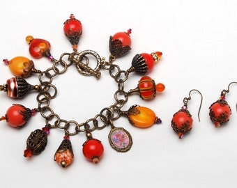 Charms,Crystals,Brass,Filigree - Fabulously Orange Charm Bracelet & Earrings