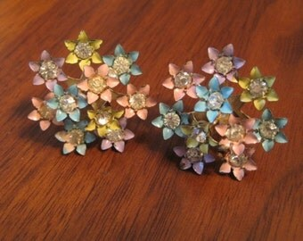 Vintage Coro signed enamel floral earrings.