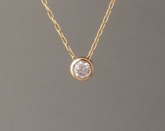 Clear Solitaire Crystal Gold Fill Necklace