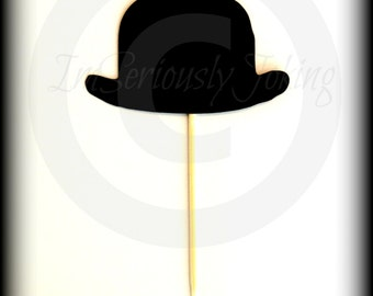 Cupcake Toppers-12 Bowler Hat Cupcake Toppers- Little Man Party-Mustache Party-The Gentleman-Mustache Cupcake Toppers-Mustache Theme