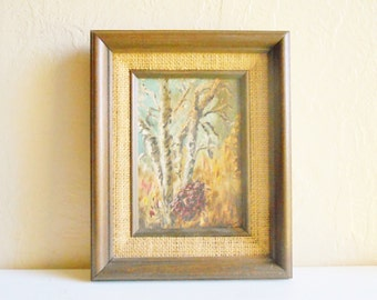 Wood Framed Canvas Painting Tree Forest Nature Scene Signed Art 5x7 Ready to Hang
