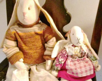 Vintage Rabbits Stuffed Long Earred Daddy and Daughter Easter Bunnies 1980s