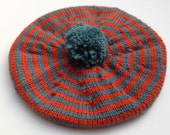 Child's Beret, Knitted baby Clothes, Orange, Beret, UK Seller, Wool Beret, Tam,