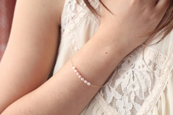 Pink pearl bar bracelet - freshwater pearls - 14k gold filled chain - minimalist everyday jewelry by fildee