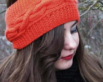 Best Selling Knitted Headband, Exclusive, Fall Fashion Accessory, Turband, Cozy, Pinterest Favorite, Cable Knit Ear Warmer in Orange