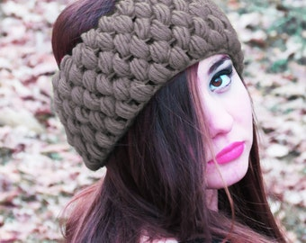 Wrap Bow Look knitted headband in your color choice Crochet Headband, Taupe Color Ear Warmer, Chunky Headband for Women, Beige Earwarmer