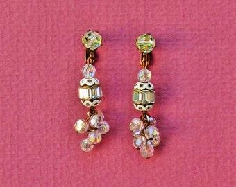 Vintage chandelier earrings, 1930's dangle earrings with rhinestones and crystal beads