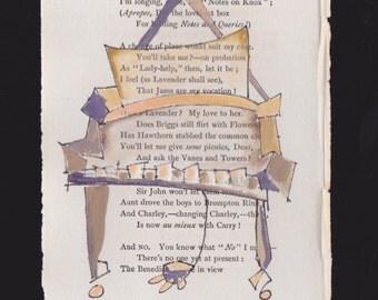 Original Gouache Painting on 1897 Poetry Page: Vers de Societe