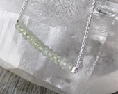 faceted celery green PREHNITE sterling silver necklace