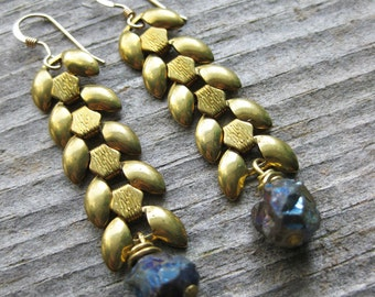 brass wheat chain and seapunk crystal earrings