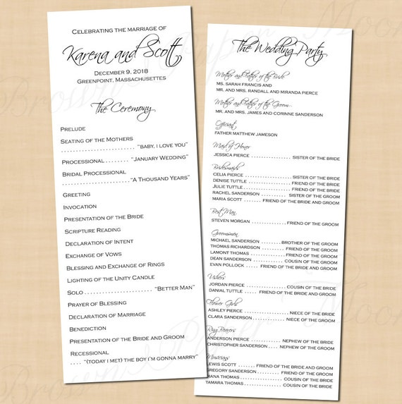 Classic White Wedding Programs 4 25x11 Text Editable