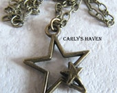 Brass star necklace, ready to ship, gifts for women, gifts under 20, brass chain, star necklace