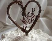 Letter Initials Cake Topper In Vine Heart, Rustic Farmhouse Decor