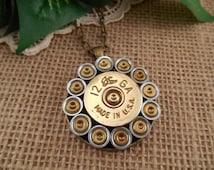Shotgun Shell Jewelry ~ 12 Gauge Vintage Federal Flying Duck ~ Round Primer Necklace