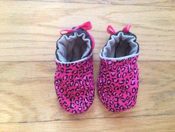 pink cheetah baby shoes