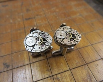 Bulova 5AB Watch Movement Cufflinks. Great for Fathers Day, Anniversary, Groomsmen or Just Because.  #213