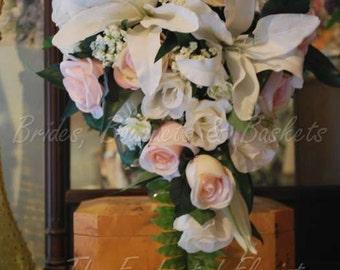 wedding bouquets, silk flower bouquet, wedding flowers, bridal bouquets, silk flower bridal, silk wedding flowers, blush bridal bouquet