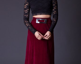 SALE 50% OFF 70s Velvet Maxi Skirt with Silver Buckle