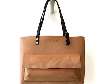 Tote Bag / Leather / Cognac Color / Carry-all / Lap Top Bag.