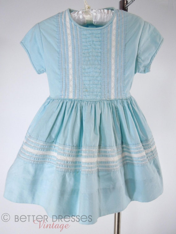 50s Shirley Temple Style Toddler Dress In Light Blue 2t 3t