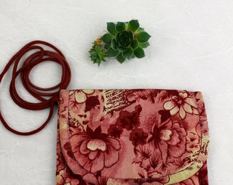 Vintage Cloth Floral Mini cross body Purse Floral pattern with brass clasp by Rajneesh Foundation